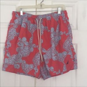 Nautica orange gray tropical swim trunks size S